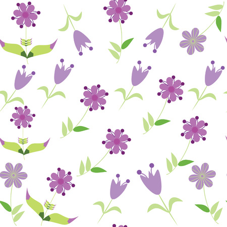 Floral seamless pattern with gentle lilac flower.    Vector