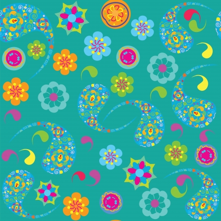 Vector Paisley seamless pattern, and seamless pattern in swatch menu.  Vector