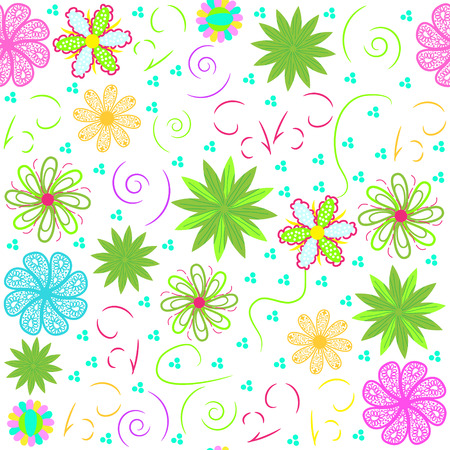 Bright vector  floral seamless pattern, and seamless pattern in swatch menu. Vector