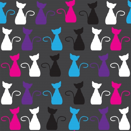 Bright vector  cat  seamless pattern, and seamless pattern in swatch menu.