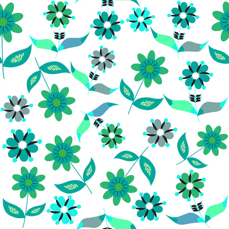 Bright vector  floral seamless pattern, and seamless pattern in swatch menu. Seamless pattern can be used for wallpapers,   tableware, packaging, posters, and other purposes.