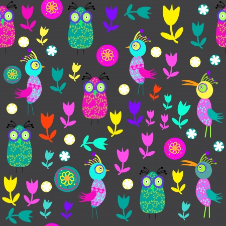 Vector cute seamless pattern with cartoon bird and flower and seamless pattern   Vector