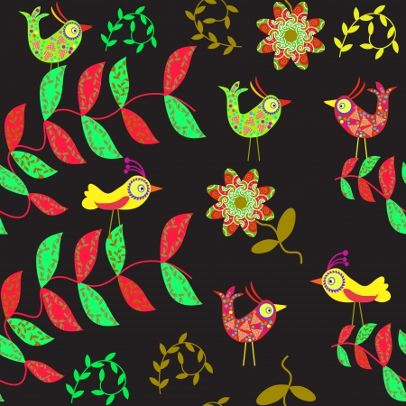 Vector cute seamless pattern with cartoon bird and flower and seamless pattern   Illustration