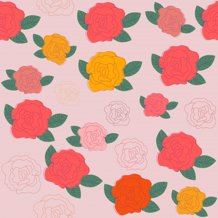 Bright vector  floral seamless pattern in vintage colors, and seamless pattern in swatch menu. Seamless pattern can be used for wallpapers,   tableware, packaging, posters, and other purposes.   Vector