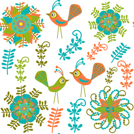 Vector cute seamless pattern with cartoon bird and flower and seamless pattern in swatch menu. Seamless pattern can be used for wallpapers, clothes, tableware, packaging, posters, cover.