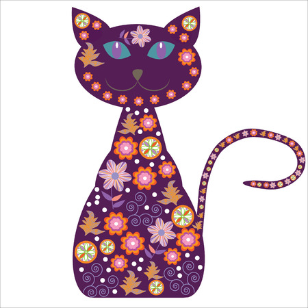 Silhouette of a cat with pretty flowers on a white background for your design, vector, isolated Vector