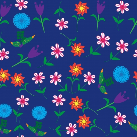 Vector floral seamless pattern and seamless pattern in swatch menu. Seamless floral pattern can be used for wallpapers, clothes, tableware, packaging, posters  and other purposes. Stock Vector - 24256189