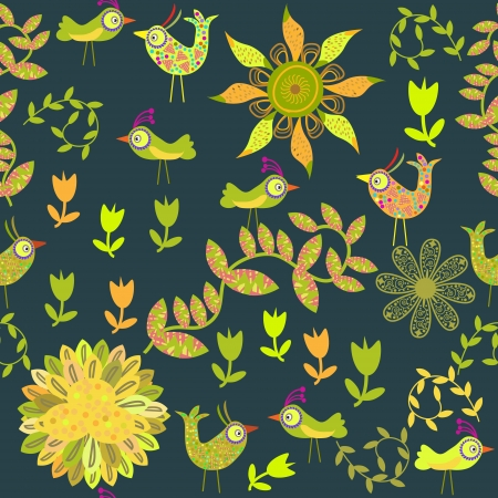 cute seamless pattern with cartoon bird and flower Vector