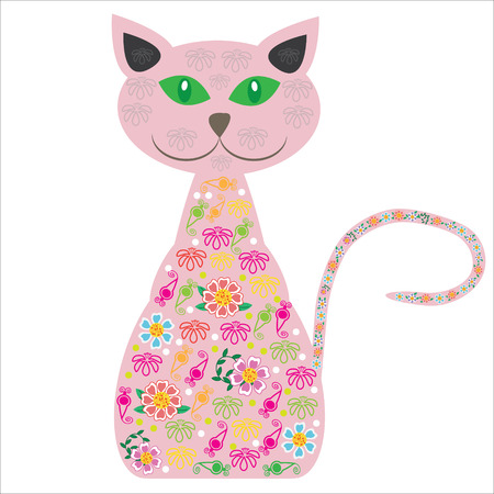 Silhouette of a cat with pretty flowers on a white background  Vector