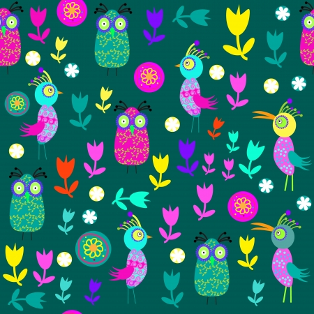 Vector cute seamless pattern with cartoon bird and flower and seamless pattern in swatch menu. Seamless pattern can be used for wallpapers, clothes, tableware, packaging, posters  and other purposes.   Vector