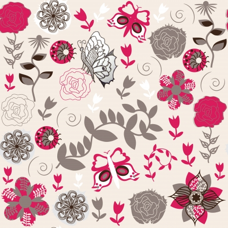 Seamless floral pattern with pretty red flowers for fabric design, tableware, packaging, posters, and other purposes Vector