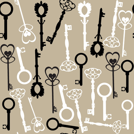 Old keys seamless pattern and seamless pattern in swatch menu. Georgeous vector background and cover  Illustration