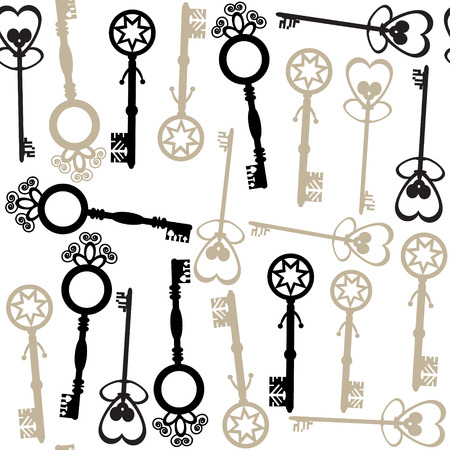 Old keys seamless pattern and seamless pattern in swatch menu. Georgeous background and cover  Vector