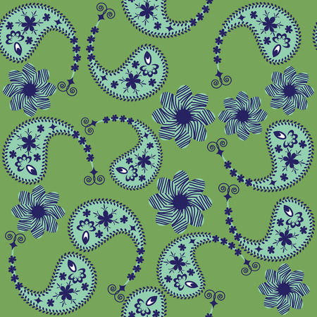 Vector Paisley seamless pattern and seamless pattern in swatch menu. Paisley seamless pattern(oriental pattern)  can be used for wallpapers, clothes, tableware, packaging, posters  and other purposes.  Vector