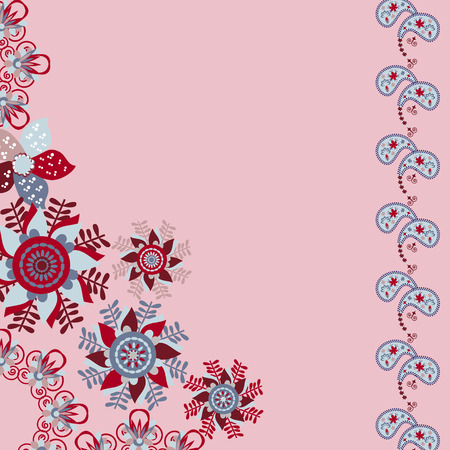 compliments: Floral invitation or greeting card on cute pink background. Template frame design for card. Can be used for invitations, template, packaging, as compliments wedding day, vector   Illustration