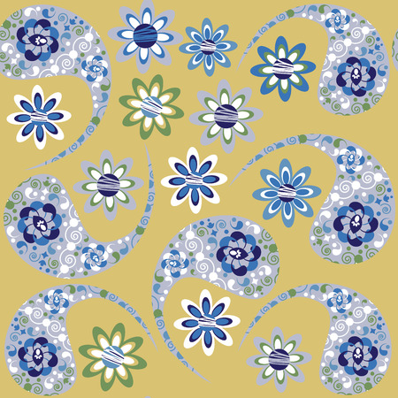 palm wreath: Paisley vector seamless texture and seamless texture  in swatch menu. Paisley seamless pattern(oriental pattern)  can be used for wallpapers, clothes, tableware, packaging, posters  and other purposes. Illustration