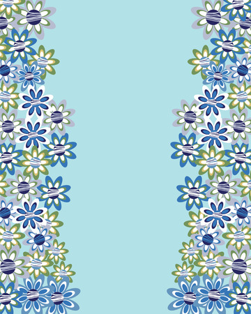 compliments: Floral invitation or greeting card on blue  background. Template frame design for card. Can be used for invitations, template, packaging, as compliments wedding day, vector