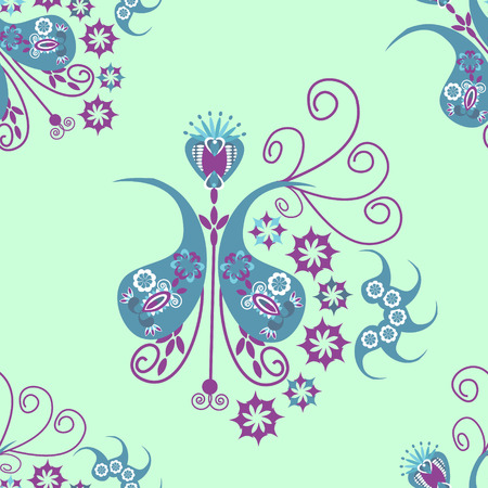 Vector Paisley seamless pattern  and seamless pattern   in swatch menu. Oriental pattern, paisley seamless pattern, east seamless pattern,  folk seamless pattern.