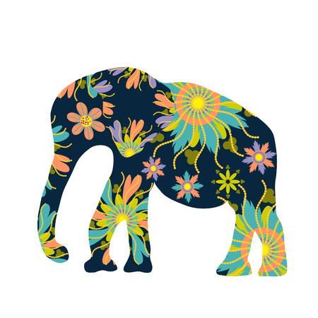 flower art: Elefante silhouette con fiori, vettore Vettoriali