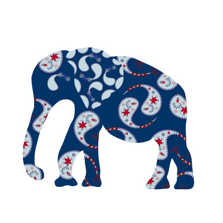 Elephant silhouette with blue Paisley, vector    Vector