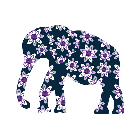 Elephant silhouette with flowers, vector