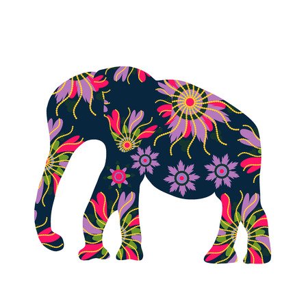 Elephant silhouette with flowers, vector  Vector