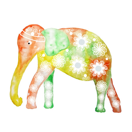 Watercolor cartoon elephant, cute vector illustration Vector