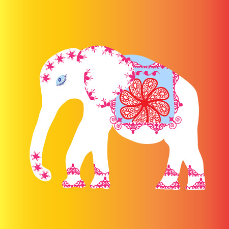 White elephant with flowers and patters, vector illustration Vector