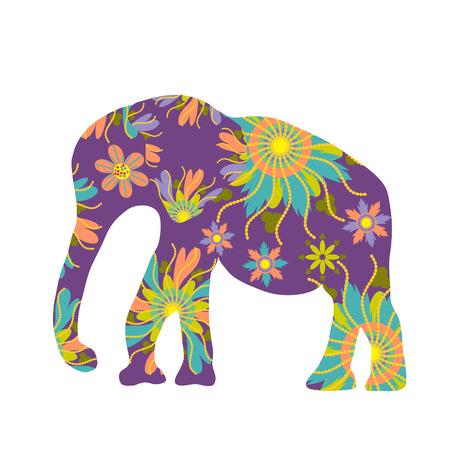 east indian: Elefante silueta del vector, plantilla linda