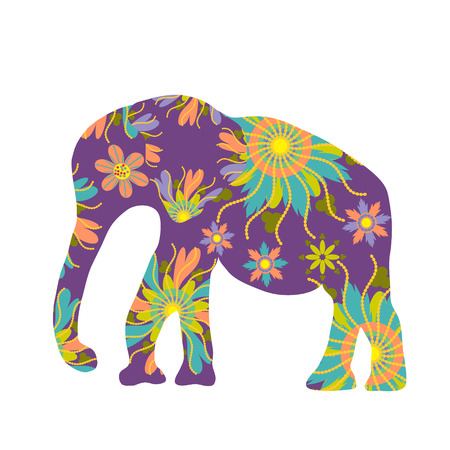 Elephant vector silhouette, cute template Vector