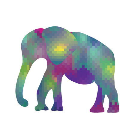 Cartoon mosaic elephant