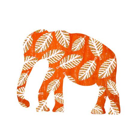 Cartoon bright orange elephant silhouette with foliage Vector