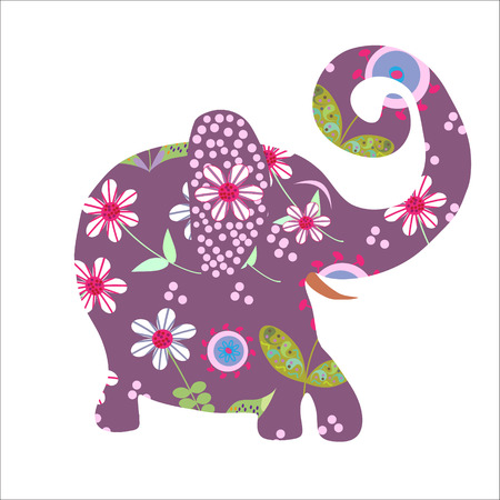 Cartoon bright floral elephant Vector