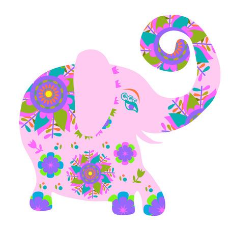 Cartoon bright pink elephant with flower