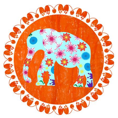 Cartoon bright decorative elephant in grunge orange round background, vector  Vector