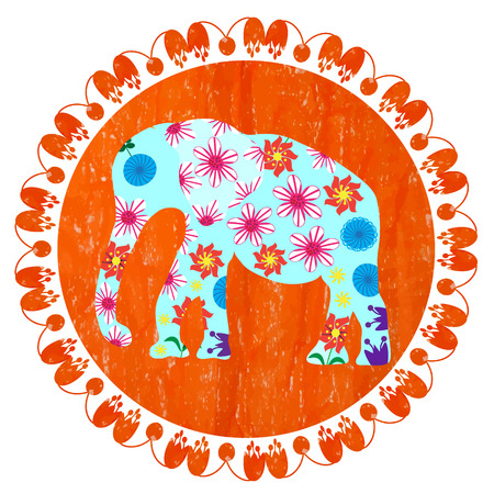brute: Cartoon bright decorative elephant in grunge orange round background, vector