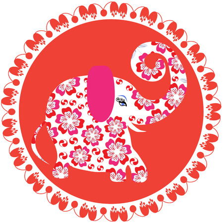 Elephant on red round  background, bright vector image