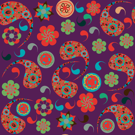 Paisley seamless pattern and seamless pattern in swatch menu, vector illustration Vector