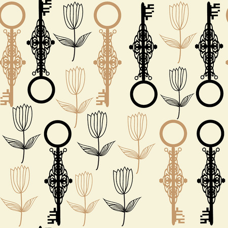 Old keys seamless pattern and seamless pattern in swatch menu, vector Stock Vector - 28914080