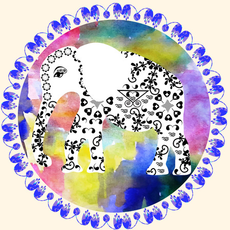 brute: Cartoon elephant on watercolor background, cute  illustration