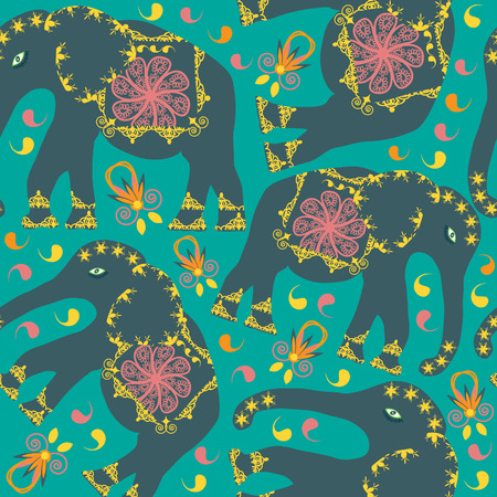 Oriental seamless pattern with elephants on green  background and seamless pattern in swatch menu. Seamless pattern can be used for design fabrics, wallpaper, tableware and other purposes Vector