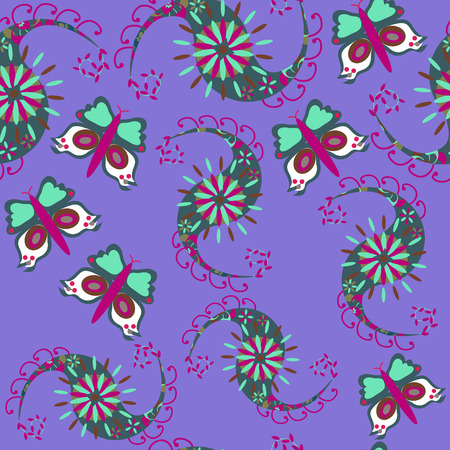 Paisley seamless pattern with butterfly and seamless pattern in swatch menu, vector illustration.  Vector