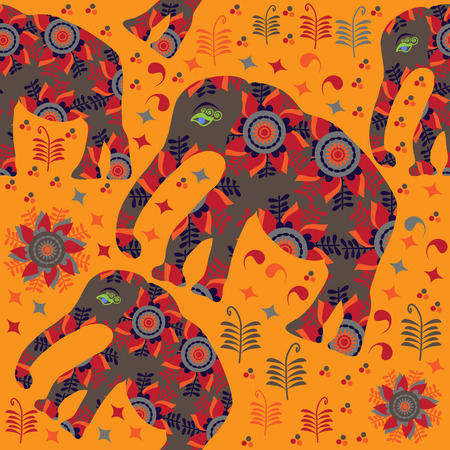 African seamless pattern with elephants on orange  background and seamless pattern in swatch menu, vector illustration   Vector