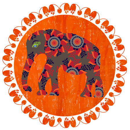 Elephant silhouette on bright orange background with pastels, vector   Illustration