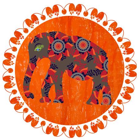 siluetas de elefantes: Silueta del elefante en el fondo de color naranja brillante con tonos pastel, vector Vectores
