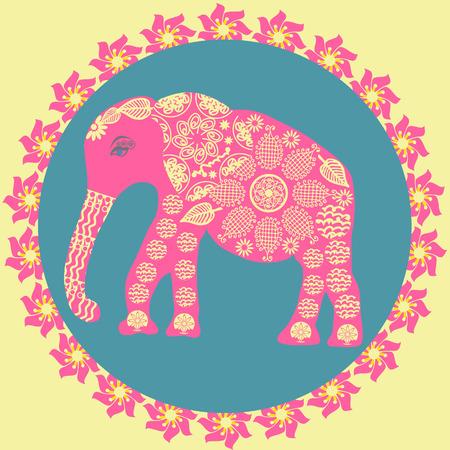 Elephant background in vintage colors, vector illustration   Vector