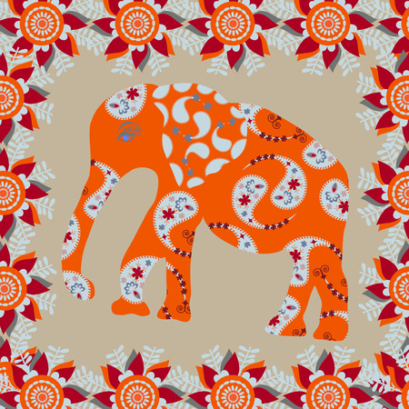 Elephant background in bright  colors, vector illustration   Vector