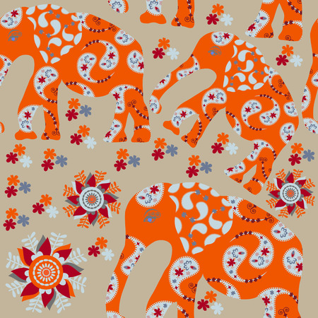 Elephant seamless pattern with flower and seamless pattern in swatch menu, vector. Cute African background   Vector