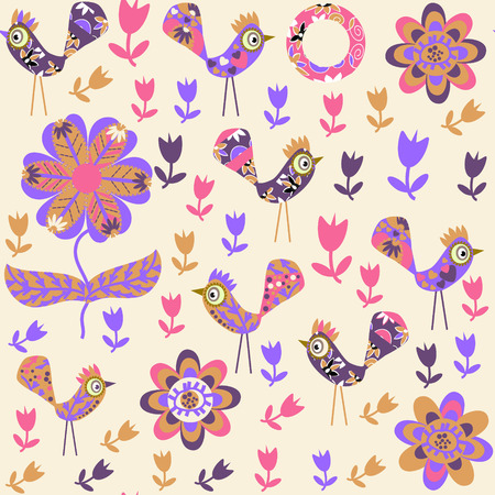 Bird seamless pattern and seamless in swatch menu, vector image for design fabrics, tableware and other purposes Illustration