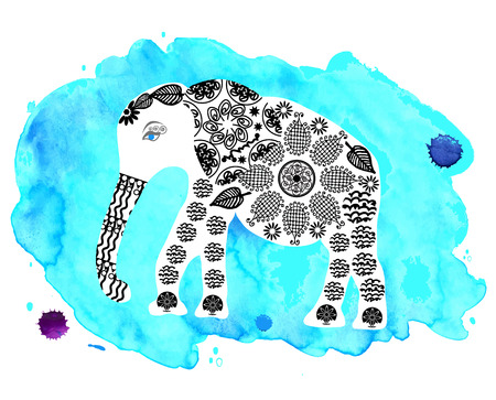 Cute elephant on blue watercolor background photo